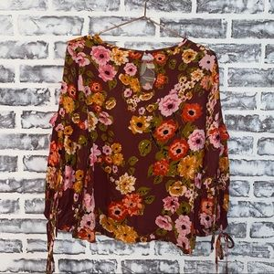 Sophie Rue floral balloon sleeve tie top fall